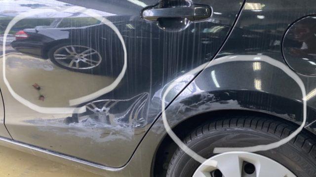 [見積書付き]  トヨタ アクア リヤドア リヤフェンダー修理